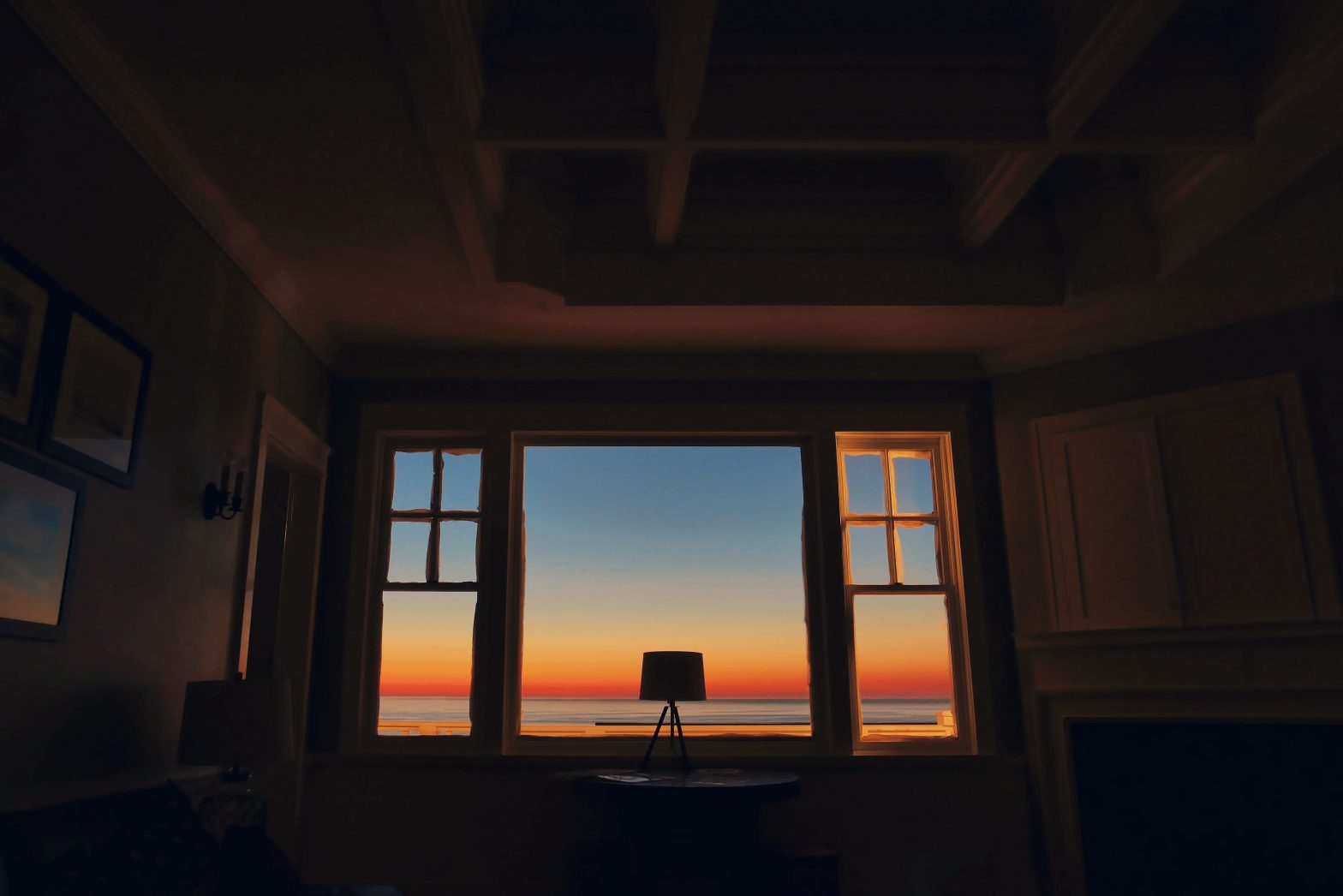 sunset in a window